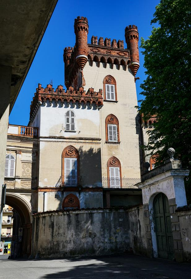 The castle of Favria. Fravia Piedmont Italy The castle of Favria, rebuilt by the Solaros of Govone, looks like an elegant building with an adjacent garden and royalty free stock image