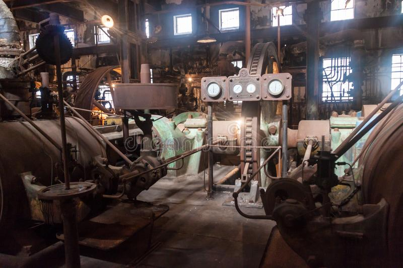Interior of a former meat factory in Fray Bentos. FRAY BENTOS, URUGUAY - FEB 18, 2015: Interior of a former meat factory, now Museum of Industrial Revolution royalty free stock image