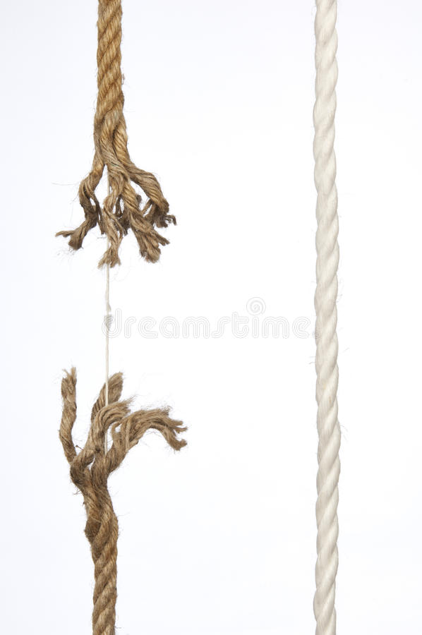Frayed rope. On a white background royalty free stock images