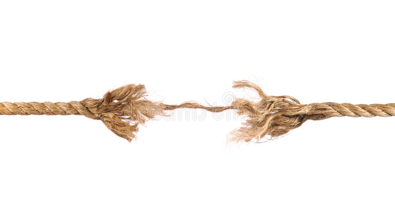 Frayed Rope. About to break isolated over white background stock photography