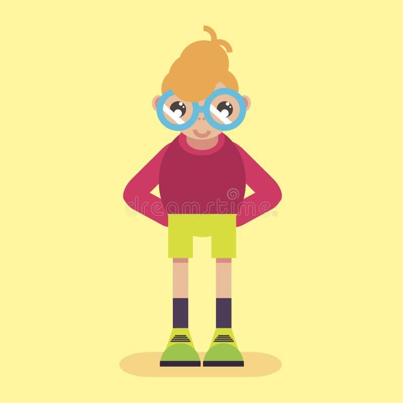 Freak del botanico del ragazzino con i vetri timidi Illustrazione della gente del carattere nel vettore piano di stile royalty illustrazione gratis