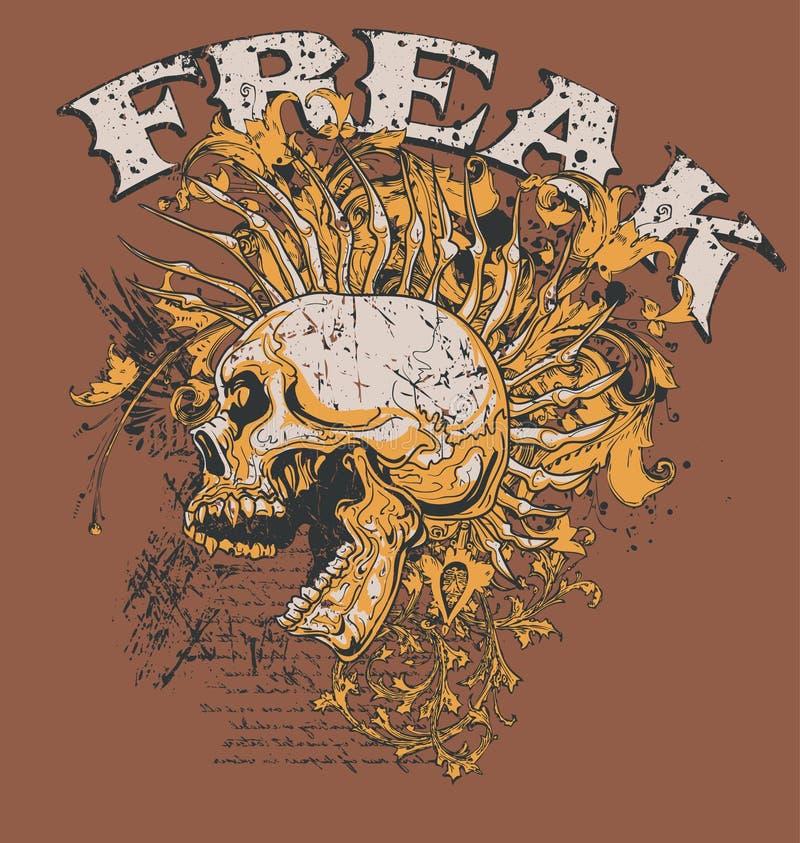 Freak il disegno del cranio   illustrazione di stock