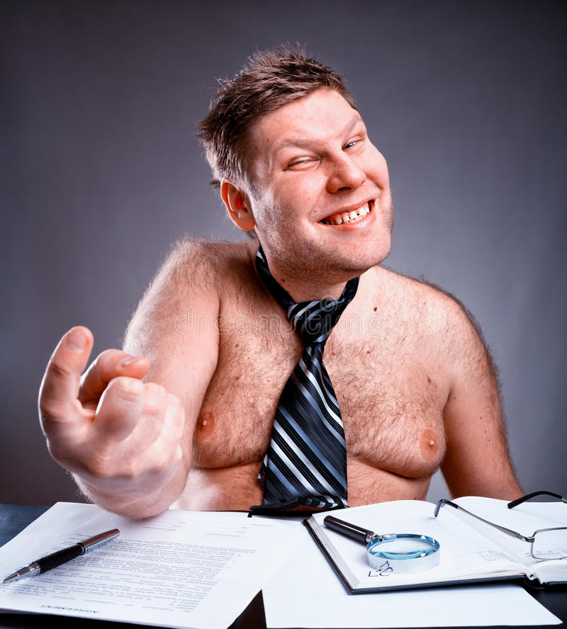 Freak shirtless businessman. Freak shirtless manager working and make face royalty free stock image