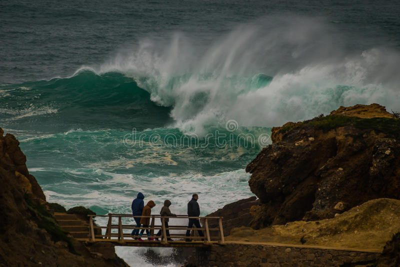 Freak wave at the coastline in Portugal royalty free stock image