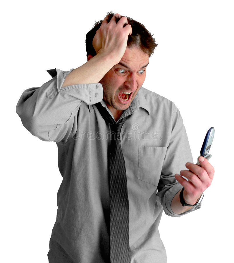 Freaked Out Phone Guy royalty free stock image