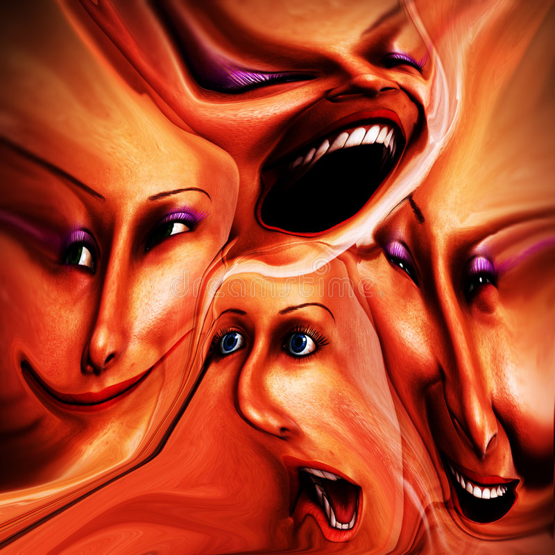 Freaky kvinnligsinnesrörelser 15 vektor illustrationer
