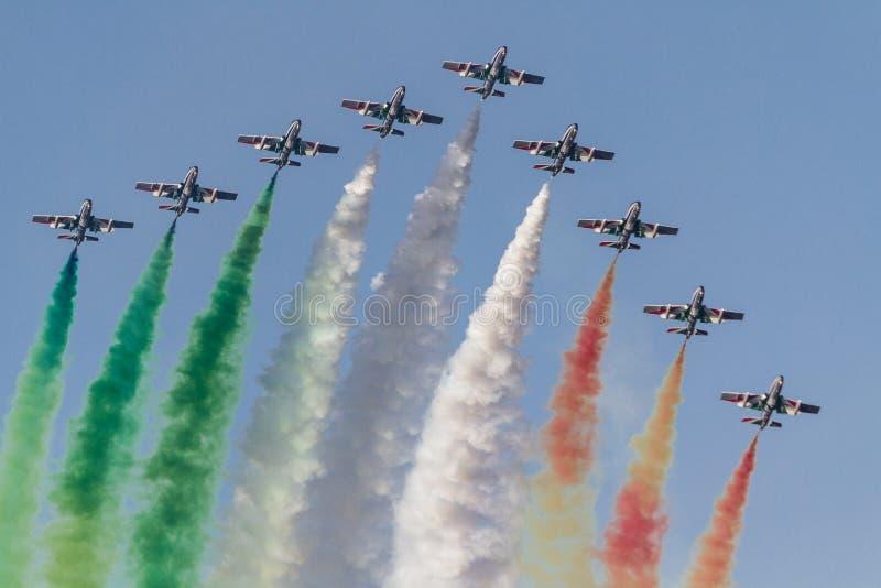 frecce意大利小组tricolori 库存图片