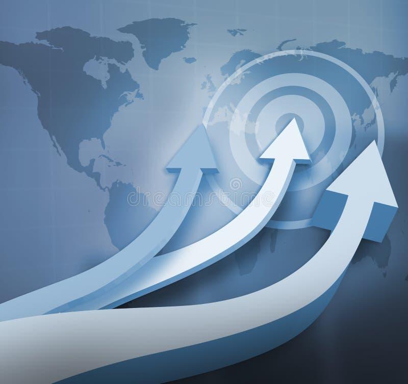 Frecce blu che indicano su con una mappa di mondo illustrazione di stock