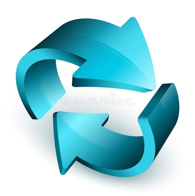 Frecce blu nel cerchio illustrazione vettoriale
