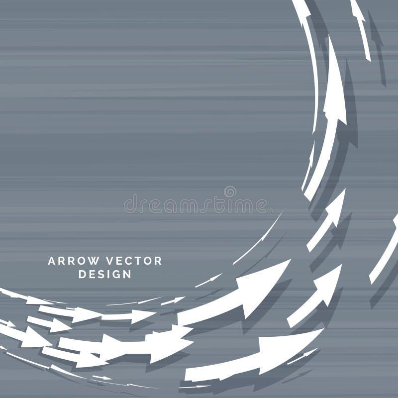 Frecce che si muovono nella progettazione di massima circolare della forma illustrazione vettoriale