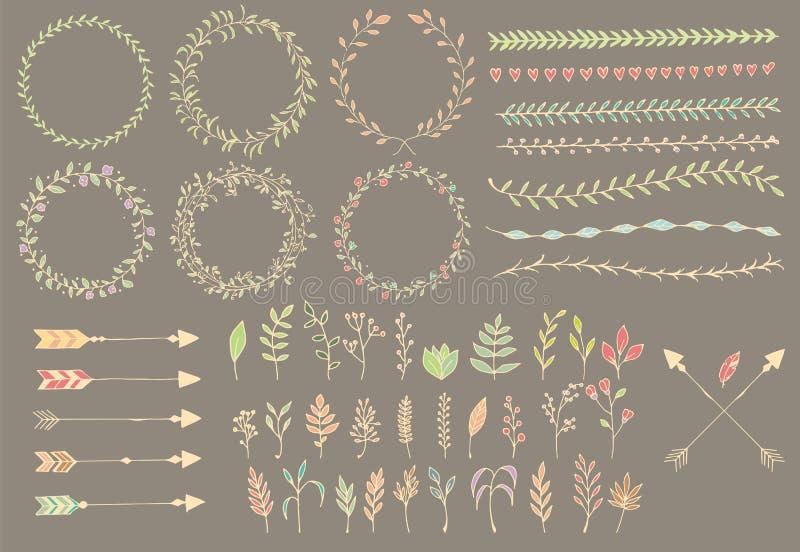 Frecce d'annata disegnate a mano, piume, divisori ed elementi floreali illustrazione vettoriale