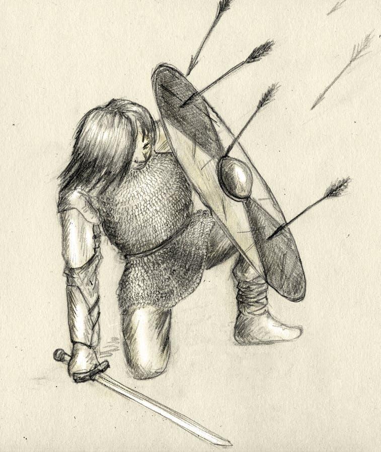 Frecce del nemico e del guerriero royalty illustrazione gratis