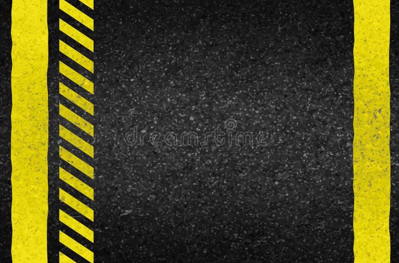 Frecce del pericolo su struttura dell'asfalto Illustrazione royalty illustrazione gratis