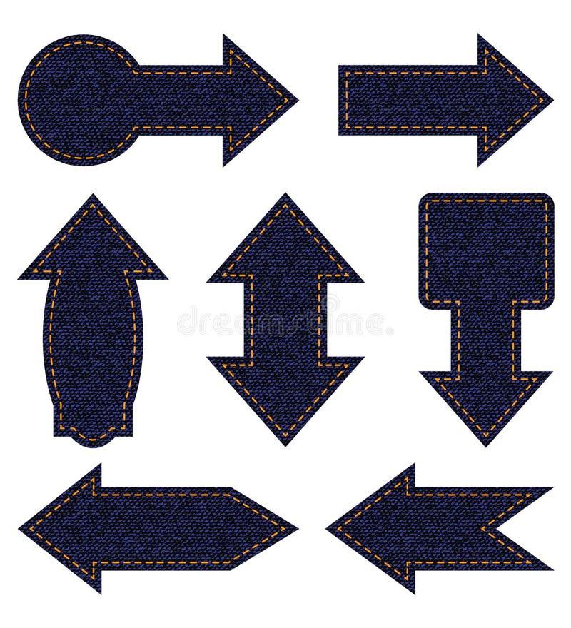 Frecce delle blue jeans illustrazione di stock