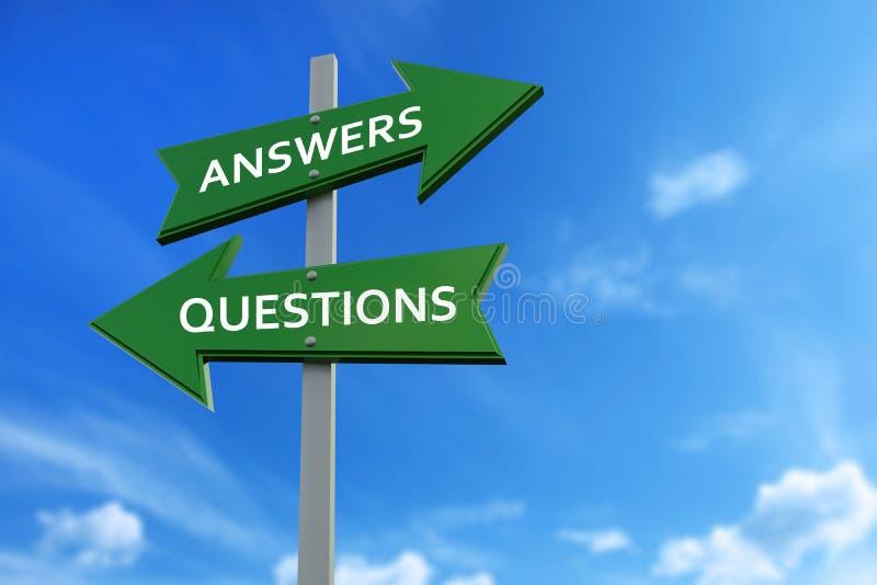 Frecce di domande e di risposte di fronte alle direzioni illustrazione vettoriale