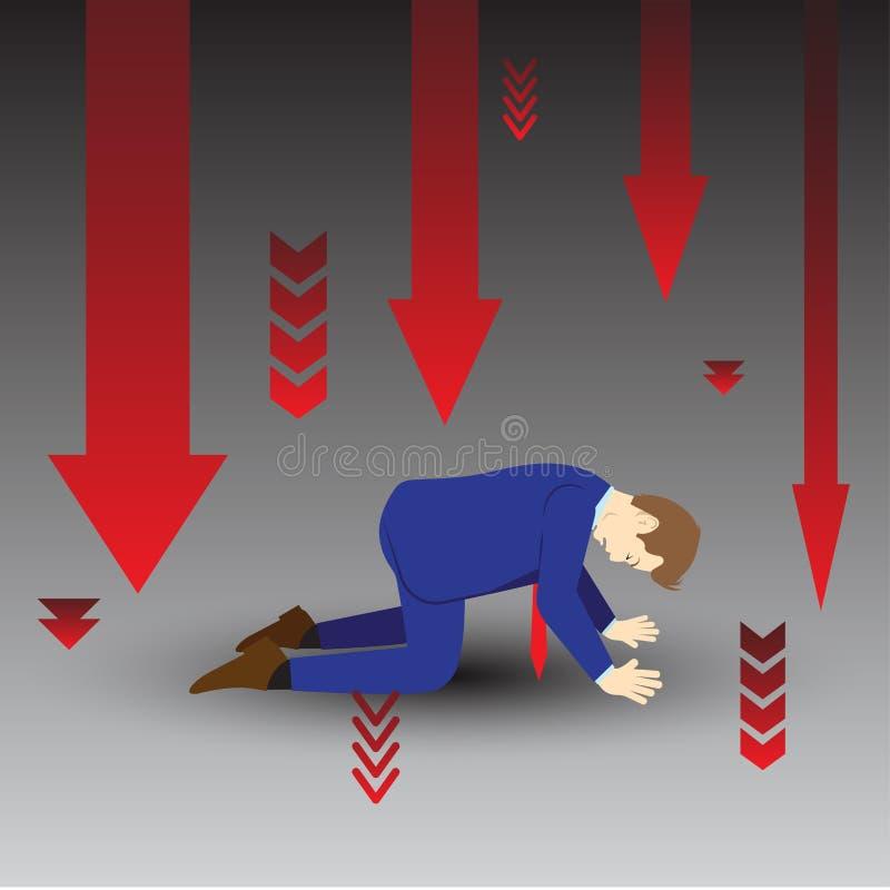 Frecce di Kneeling Among Downward dell'uomo d'affari royalty illustrazione gratis