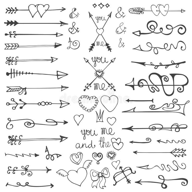 Frecce disegnate a mano di scarabocchio, cuori, elementi valentine illustrazione vettoriale