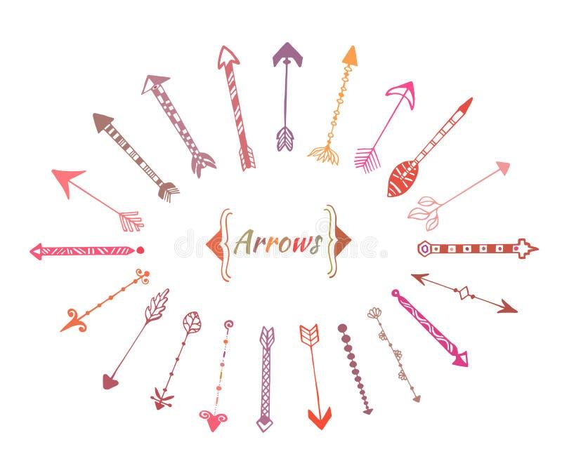 Download Frecce Disegnate A Mano Impostate Elementi Variopinti Etnici Di Vettore Per La Decorazione Dell'invito Illustrazione Vettoriale - Illustrazione di archery, cupid: 56882221