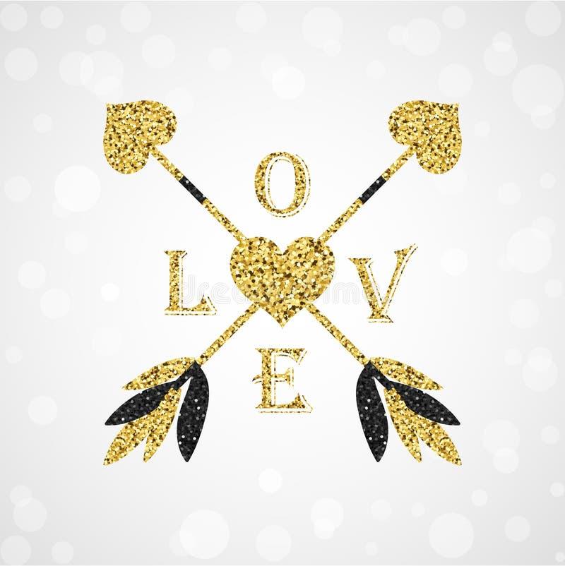 Frecce dorate splendide del cupido con il cuore del biglietto di S. Valentino fotografia stock libera da diritti