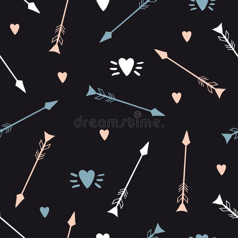 Frecce e modello senza cuciture dei cuori illustrazione di stock