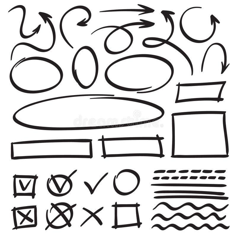 Frecce e strutture di schizzo Cerchio disegnato a mano, struttura ovale e scarabocchi della freccia Puntatori del fumetto e linee illustrazione di stock