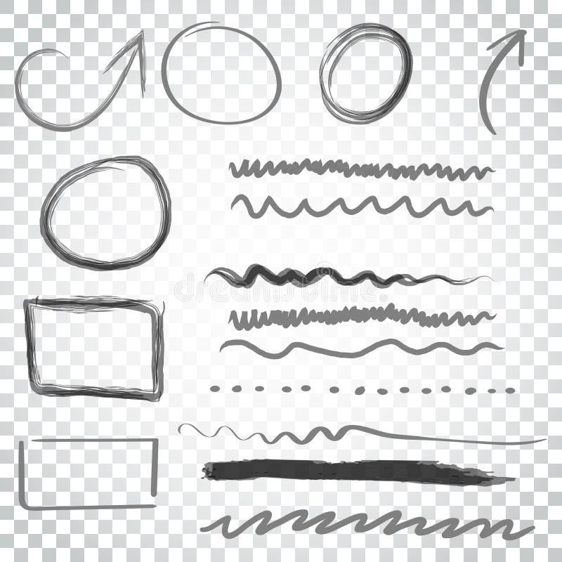Frecce ed insieme disegnati a mano dell'icona dei cerchi Raccolta dello ske della matita illustrazione di stock