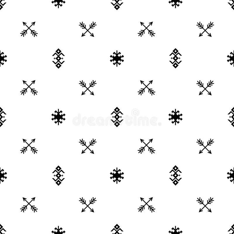 Frecce indiane senza cuciture di vettore del modello e fondo in bianco e nero de degli ornamenti tribali etnici geometrici di tip illustrazione di stock