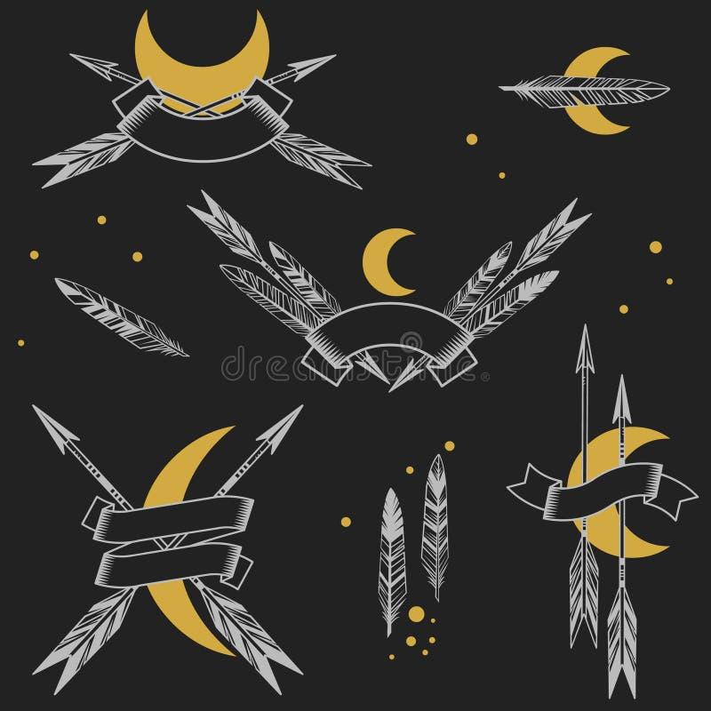 Frecce, piume, nastri su fondo nero con il posto per il vostro testo Illustrazione disegnata a mano di vettore illustrazione vettoriale