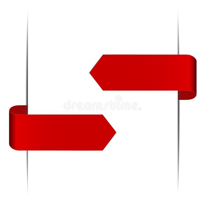 Frecce rosse di vettore nella forma di autoadesivi di carta illustrazione di stock