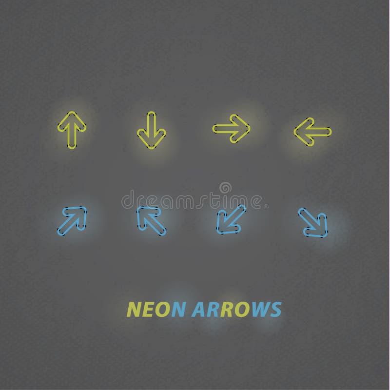 Download Frecce Stilizzate Del Neon Di Vettore. Navigazione Di Progettazione Moderna Con Buio Illustrazione Vettoriale - Illustrazione di contrassegno, orientamento: 30831547