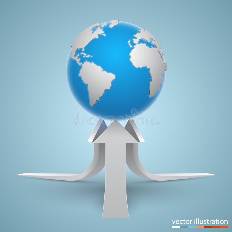 Frecce sul pianeta Vettore illustrazione di stock