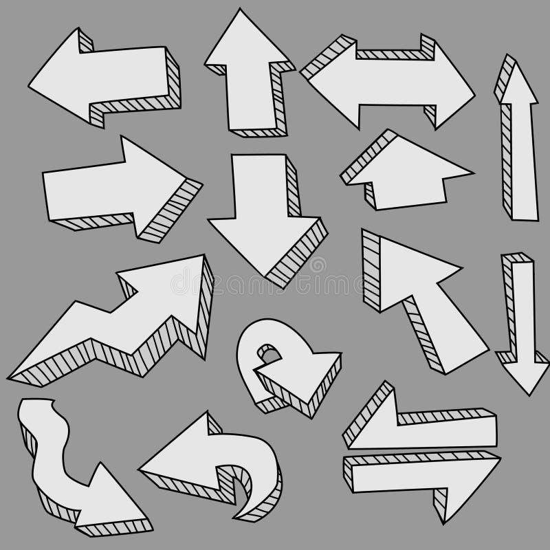 Frecce sveglie di doodle illustrazione di stock