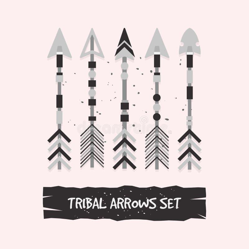 Frecce tribali grige astratte messe illustrazione vettoriale