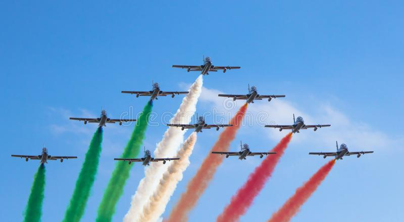 Frecce Tricolore arrive over Turin stock photos