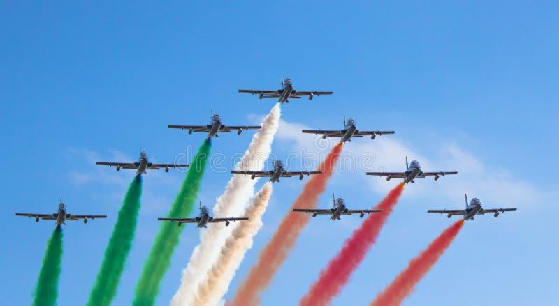 Frecce Tricolore arrive over Turin stock photos