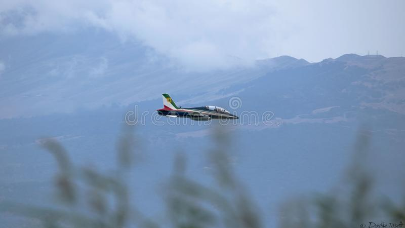 Frecce Tricolore in the sky stock photos
