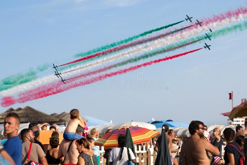 Frecce Tricolore, Three-Colored Arrows in Ladispoli, Italy stock photos