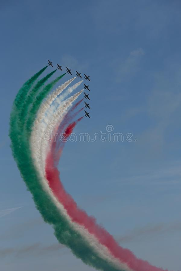 Frecce Tricolore, Three-Colored Arrows in Ladispoli, Italy stock images