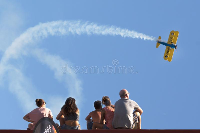 Frecce Tricolore, Three-Colored Arrows in Ladispoli, Italy. The Frecce Tricolore, the Three-Colored Arrows, fly all over Italy for celebrations, this one to stock photo