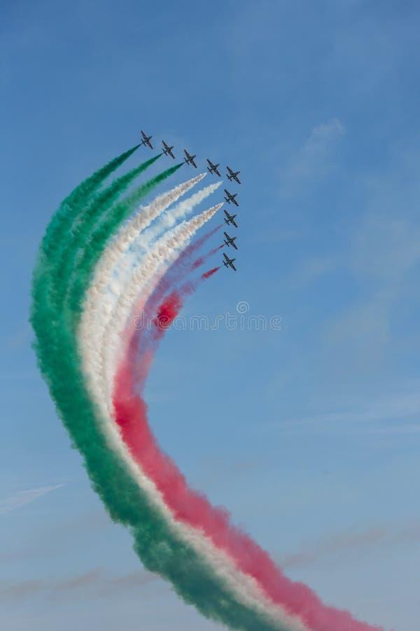 Frecce Tricolore, Three-Colored Arrows in Ladispoli, Italy stock photos