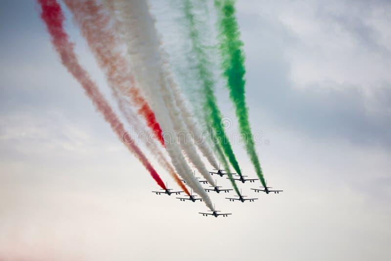 Frecce tricolori在蒙扎F1格兰披治2018年 免版税库存照片