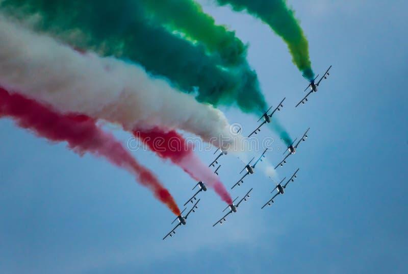 03/08/2020 The Frecce Tricolori during the Genova San Giorgio bridge Inauguration stock photos