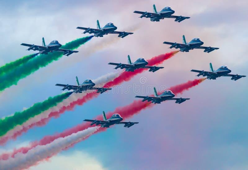 03/08/2020 The Frecce Tricolori during the Genova San Giorgio bridge Inauguration royalty free stock image
