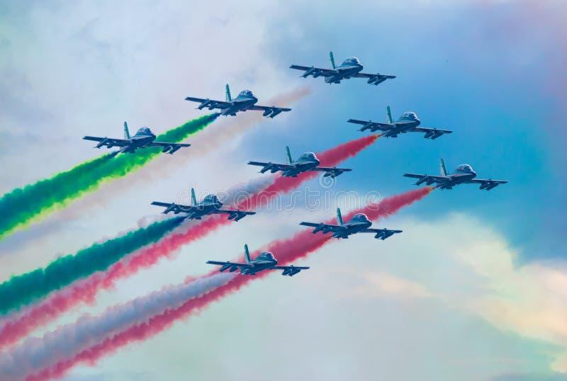 03/08/2020 The Frecce Tricolori during the Genova San Giorgio bridge Inauguration royalty free stock photography