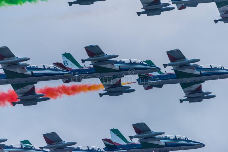03/08/2020 The Frecce Tricolori during the Genova San Giorgio bridge Inauguration royalty free stock images