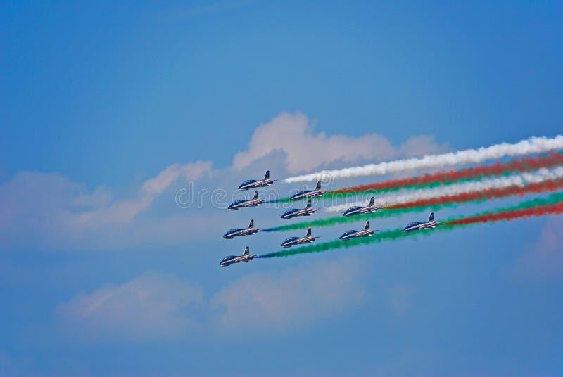Frecce Tricolori, Italiaans militair aerobatic team stock afbeeldingen