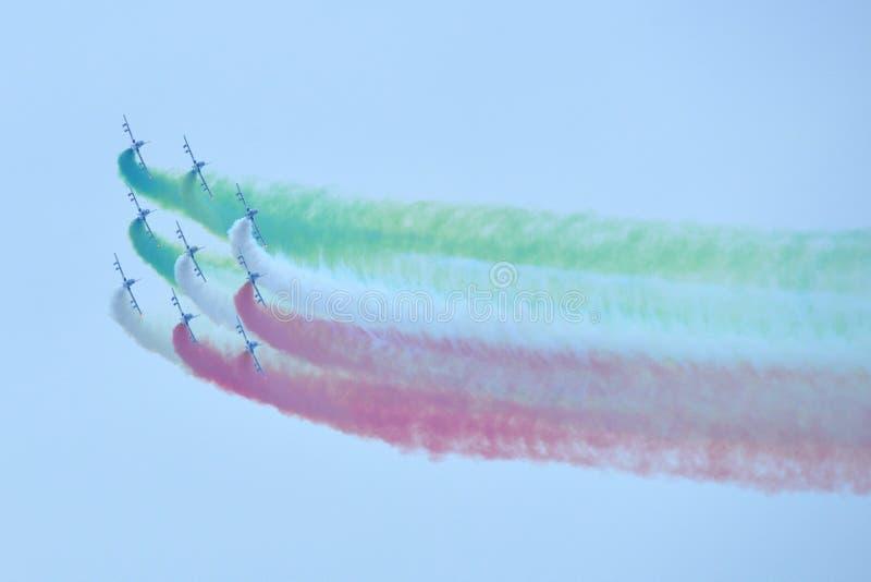 Frecce Tricolori Italian aerobatic team stock image