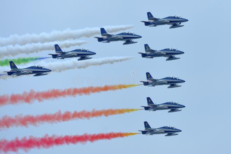 Frecce Tricolori Italian aerobatic team royalty free stock photography