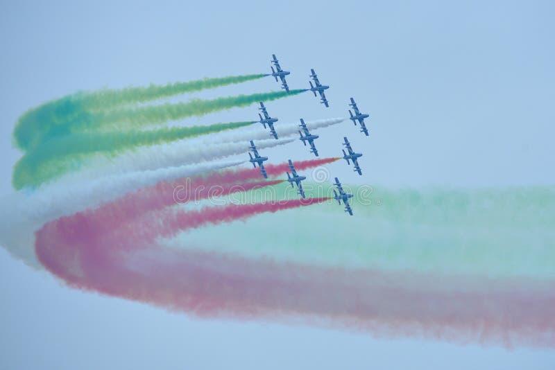 Frecce Tricolori Italian aerobatic team stock photography