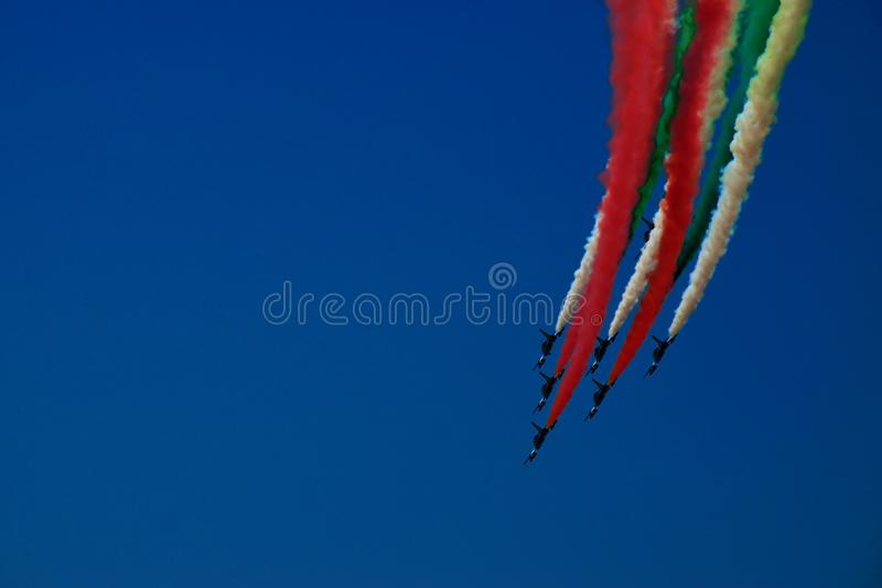 Frecce Tricolori Italian Flag Tail royalty free stock photos